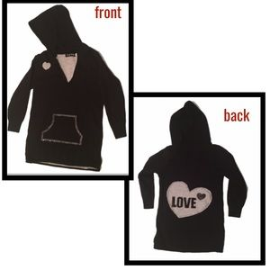 🖤Hooded tunic/sweater-LOVE heart patch